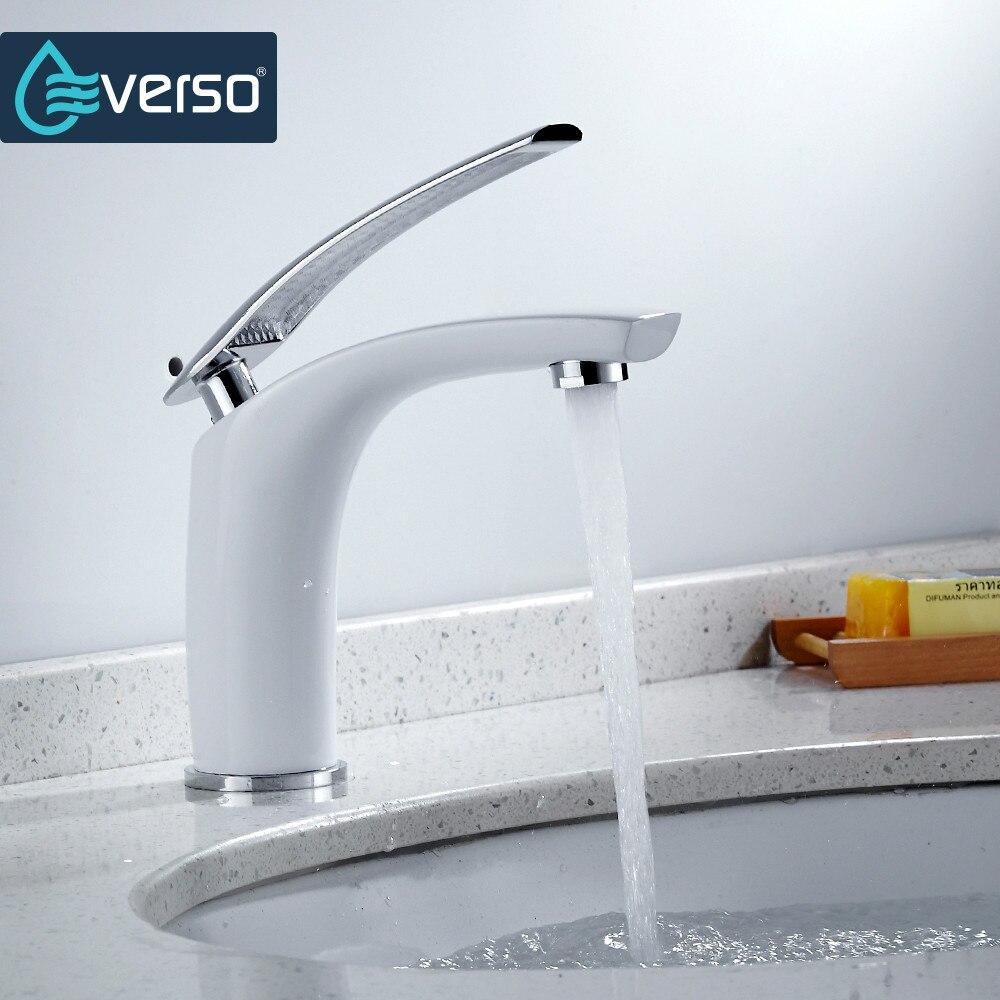 EVERSO-حنفية حوض للحمام ، صنبور مياه بمقبض واحد مع تشطيب كروم نحاسي صلب