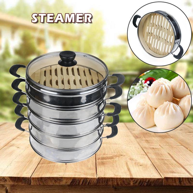 Albóndigas de vapor de acero inoxidable vaporizador de bambú, bollos de fondo, Dim Sum, hoja de loto, vaporizador de alimentos de arroz