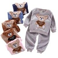 Осенне-зимняя Фланелевая пижама, Одежда для новорожденных, комплект одежды для маленьких мальчиков, одежда для девочек, плюшевый костюм для...