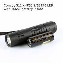 Черный конвой S11 с XHP50.2 / SST40 светодиодный, 26650 флэш-светильник, фонарь светильник с 26650 батареи внутри