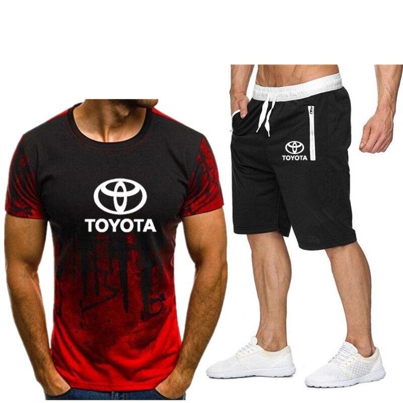 Летний популярный мужской комплект из футболки и спортивных шорт, персонализированный Модный комплект с принтом, современный спортивный к...