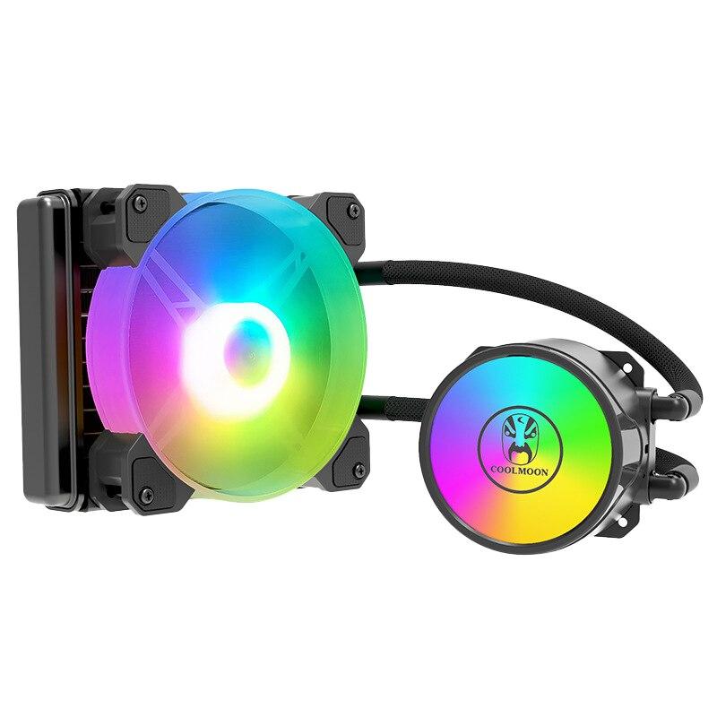 COOLMOON-مبرد وحدة المعالجة المركزية ، مروحة LED RGB ، 120 مللي متر ، 4 دبابيس ، PWM ، مناسب لـ/AMD ، متعدد المنصة