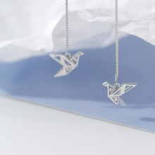 Threader Earrings with Origami Crane Bird Birthday Christmas Gift Box Chain Line Earrings Paper Cran