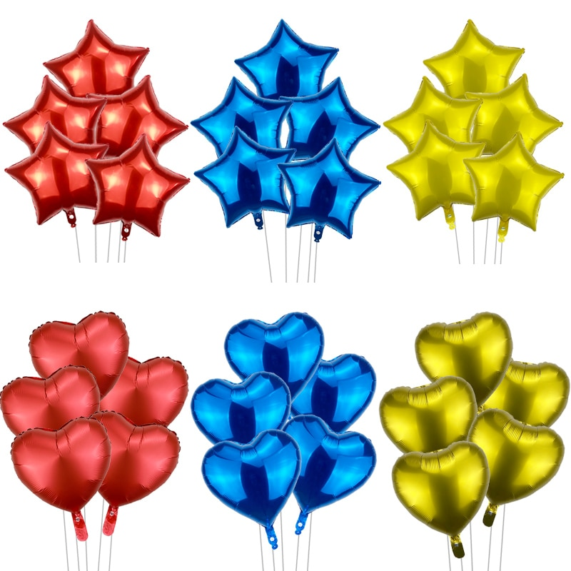 5pcs star aluminum film balloon birthday party supplies red yellow blue theme heart balloon wedding decoration baby shower toy