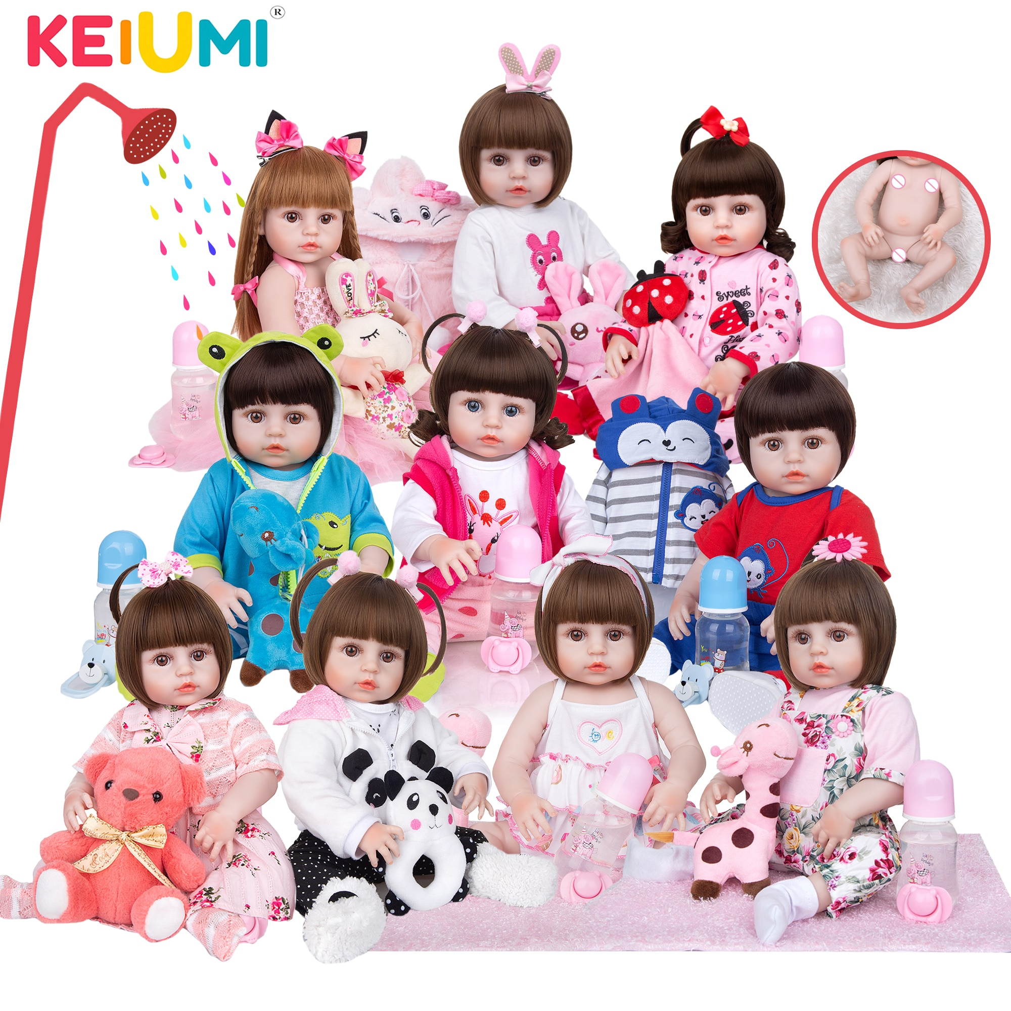 Wholesale KEIUMI Full Silicone Vinyl Reborn Baby Dolls Fashion Waterproof Doll Baby Toy For Kids Birthday Gifts Playmate
