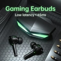 gaming earbuds tws 65ms low latency bluetooth waterproof earphone touch noise cancelling hifi bass audio gamer headset with mic