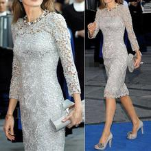 Graceful Gray Short Mother of the Bride Dresses With 3 4 Sleeves Lace Appliques Plus Size Knee Lengt