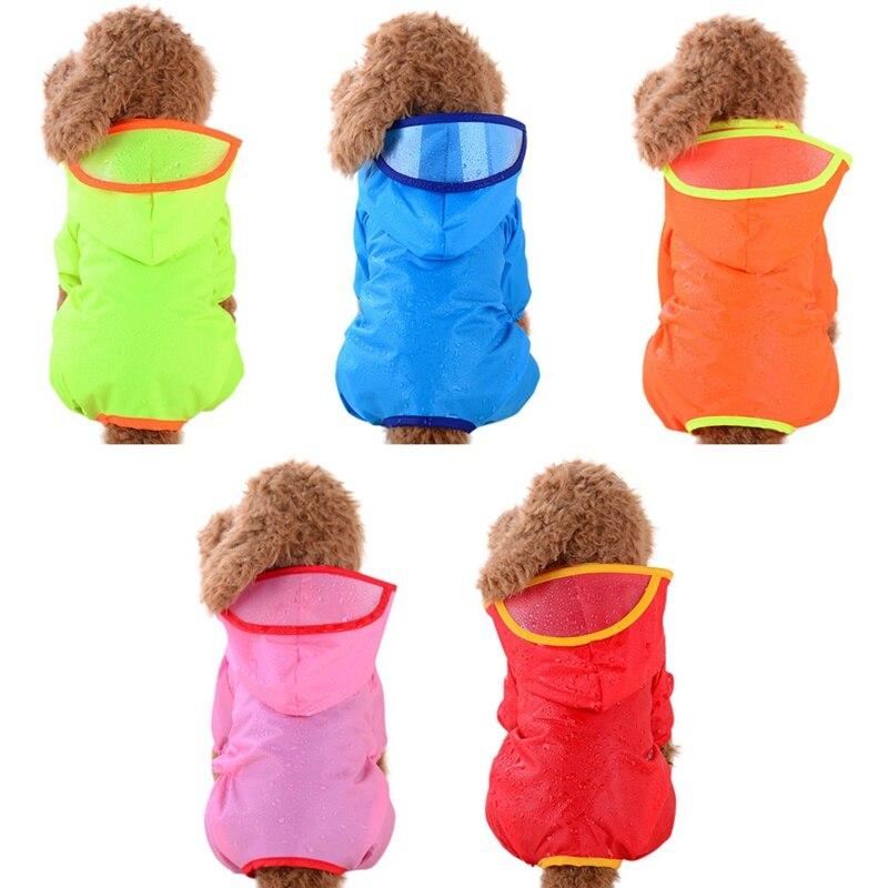 2019 cão de estimação capa de chuva cachorro com capuz doces cores capa de chuva com chapéu à prova dwaterproof água teddy trench coat roupas cão poncho