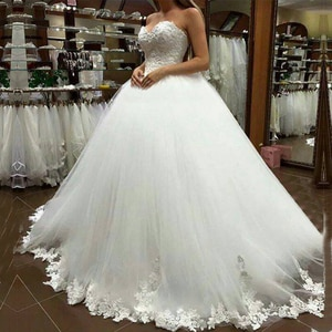 ZJ9081 2020 2021 Lovely Sweetheart Ball Gown Bride Dresses Wedding With Lace Edge Floor Length Bridal Size 2-26W