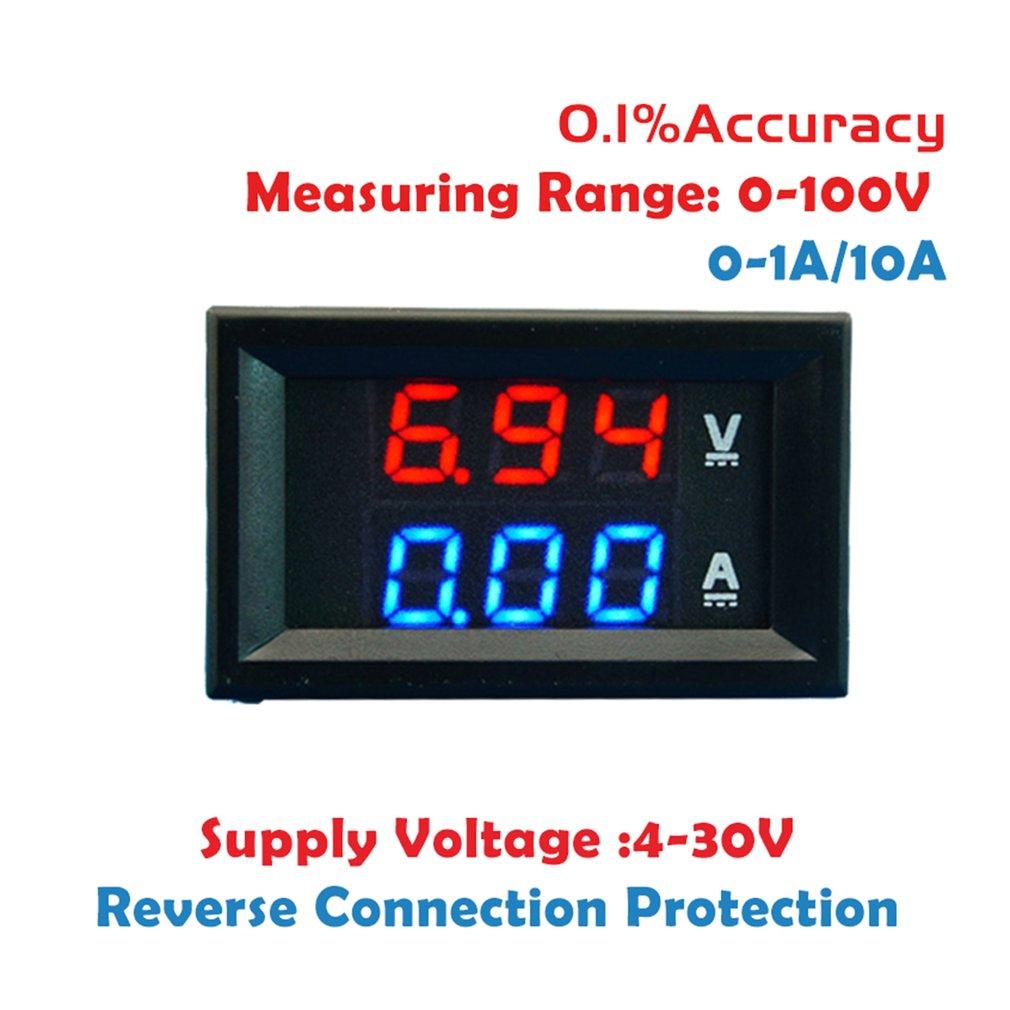 Светодиодный цифровой вольтметр-амперметр, 0,56 дюйма, 0-100 в, 10 А, 50 А, а, автомобильный мотоциклетный измеритель напряжения и тока, стандартный...
