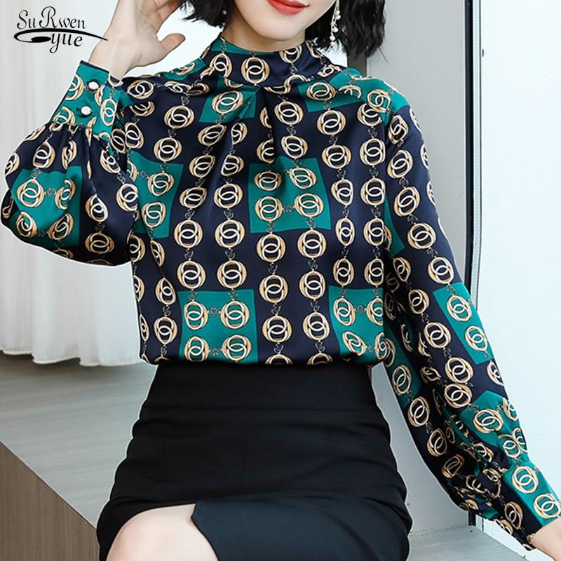 Blusas mujer moda feminina blusa 2019 primavera estilo retro stand-up feminino manga longa escritório selvagem blusa feminina 2376 50