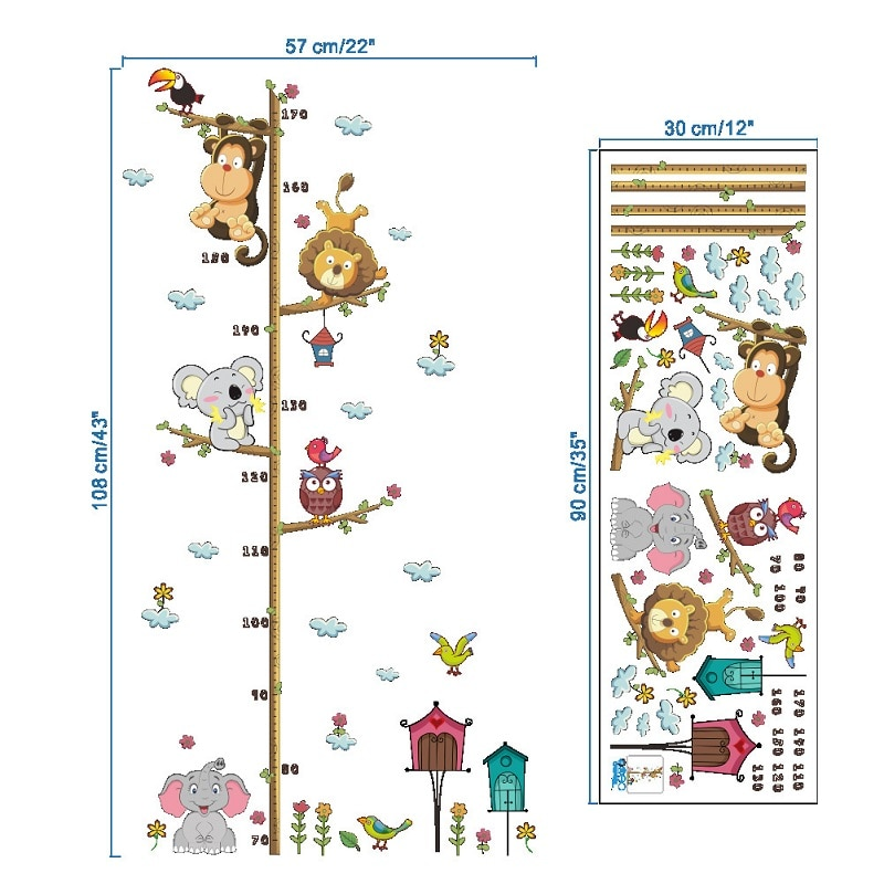 LazyChild Animal Wall Sticker Children Room Decoration Stickers Elephant Lion Zoo Height