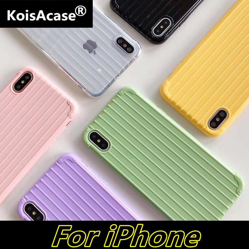 KoisAcase, carcasa de TPU suave para iPhone 11 Pro Max 6 6S 7 8 Plus X XR Xs Max, funda bonita de color caramelo para teléfono