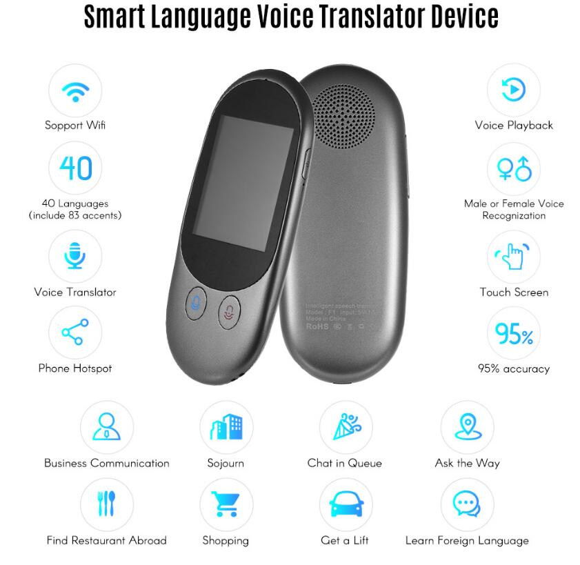 AI Translator Instant Voice Traductor 5.0Mp Camera 50+ Languages Support Photographic Scanning Translation