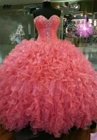 bm newest quinceanera dresses 2021 ball gown beaded organza sweet 16 lace up prom party debutante vestidos de 15 anos bm341