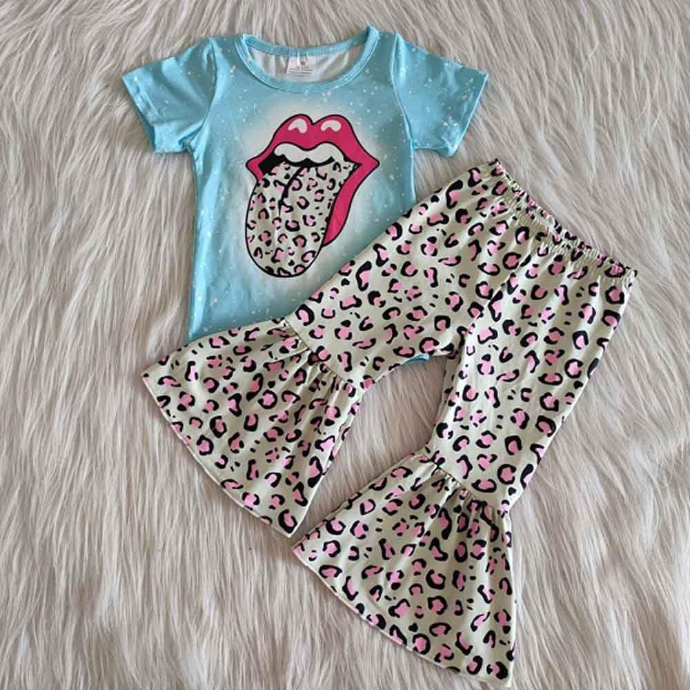 Moda Para chicas 2020, ropa, pantalones de manga corta, atuendo para niños, ropa con campanas de leopardo, camisetas con lengua grande, ropa de bebé única