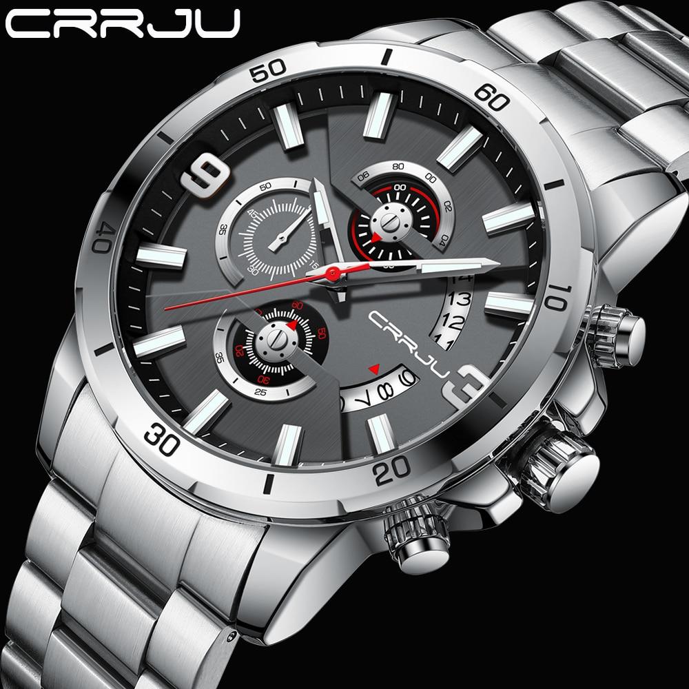 CRRJU Watches for Men Watch Luxury Sports Chronograph Quartz Wristwatch Stainless Steel Waterproof W