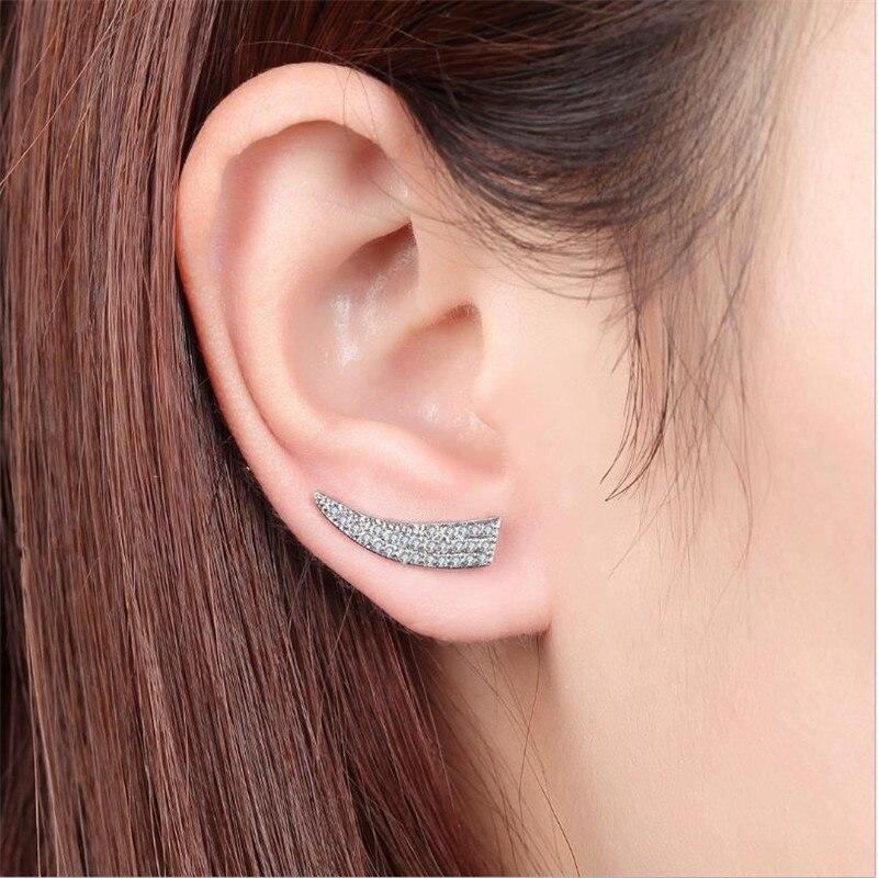 Luxury Zircon CZ Stud Earrings For Women Accessories Fashion Silver 925 Earring Girls Jewelry Charm Lady Piercing Bijou