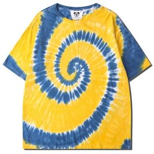 Tie Dyeing Hip Hop T-shirt Men Summer Round Neck Short Sleeve Short Sleeve T-shirt Streetwear Oversized Women's 100% Cotton Top