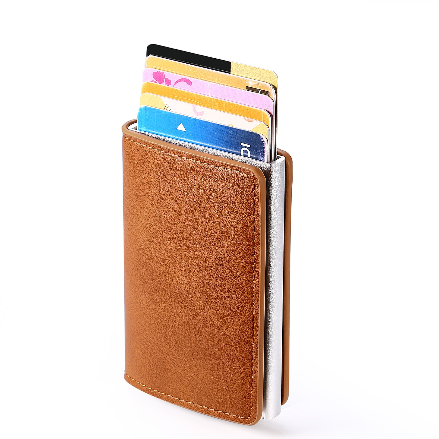Tarjetero de aluminio para hombre, billetera de Metal Rfid, caja de tarjetas...