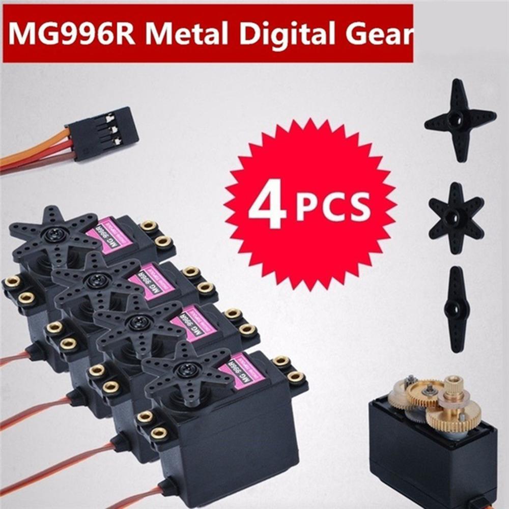 High Quality 4pcs MG996R Metal Gear MG995 Digital Torque Servo Motor for RC Truck Racing motor accessories Tools