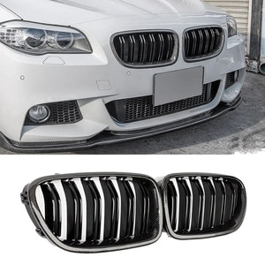 Car Carbon Fiber Glossy Double Slats Front Kidney Grille Grill For-BMW 5 Series F10 F11 M5 2010-2016