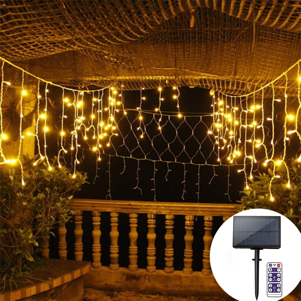 kzkrsr 3 5m 0 5m 3m 3m 6m 3m led curtain icicle string light led fairy lamp for christmas holiday wedding party garland decor 3M/5M Solar Window Curtain Icicle Light 128/265 LEDs Icicle Christmas String Light for Holiday Christmas Wedding Decorations