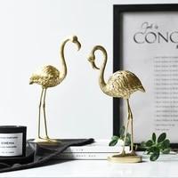 Flamand rose dore en resine  decoration nordique moderne pour la maison  salon  accessoires de bureau  cadeau decoratif