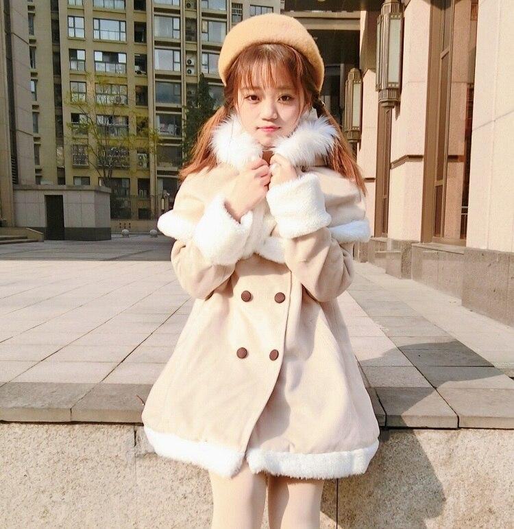 Estilo universitario de invierno, dulce abrigo lolita de terciopelo grueso, abrigo victoriano fino + capa pequeña de alce, cosplay de chica kawaii