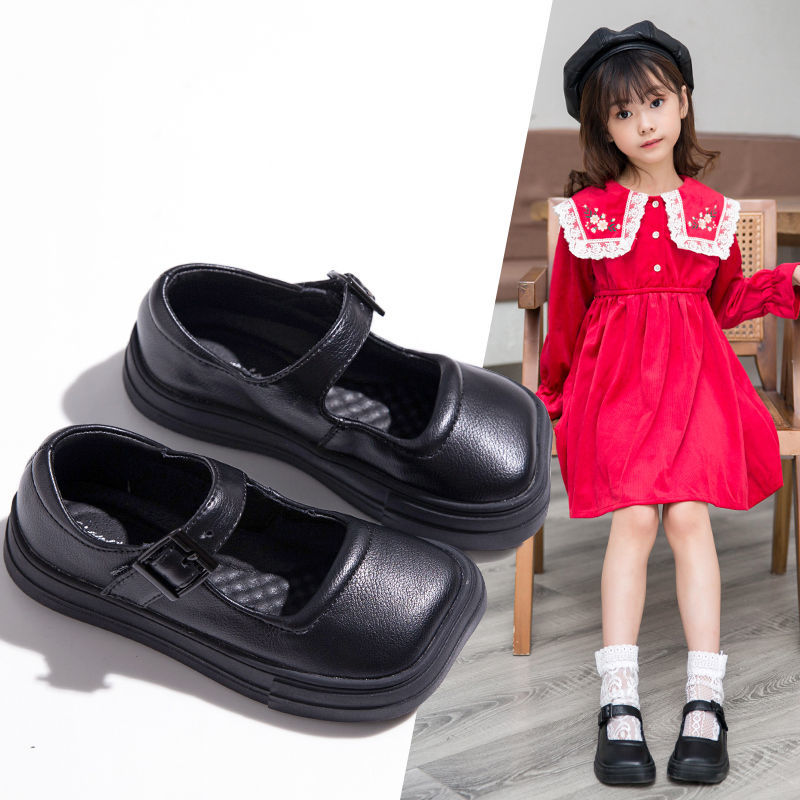 Girls PU Leather Shoes Children's Square Toe Mary Jane Shoes Shoes Soft Sole Shoes Spring & Autumn P