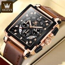 OLEVS Chronograph Watch Men Top Brand Luxury Rectangle Quartz Military Watches Waterproof Luminous L