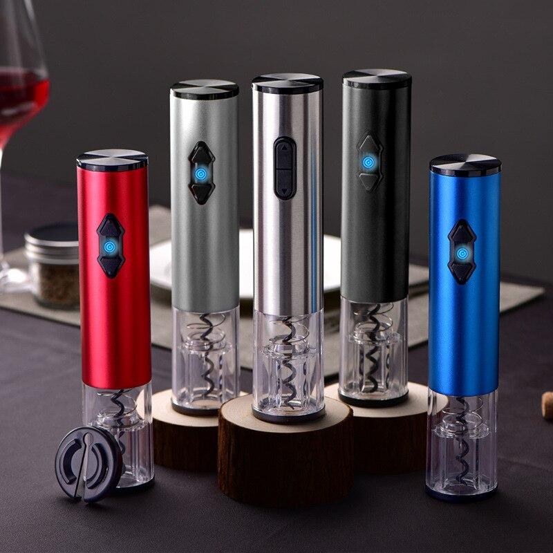 الكلاسيكية الفولاذ المقاوم للصدأ التلقائي الكهربائية بطارية جافة USB شحن مزدوج الغرض اكسسوارات المطبخ النبيذ فتاحة لولبية للسدادات الفلينية