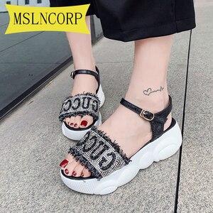 Plus Size 34-46 Summer New Net Red Sandals Female Women Joker Fashion Thick Rhinestone Roman Crystal Flat Casual Sandals Female
