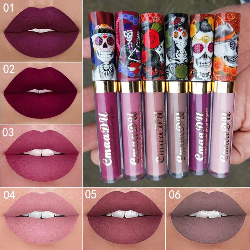 Hot Sales 6 Colors Waterproof Nude Matte Velvet Glossy Lip Gloss Lipstick Halloween style Lip Tint Women Fashion Makeup Cosmetic