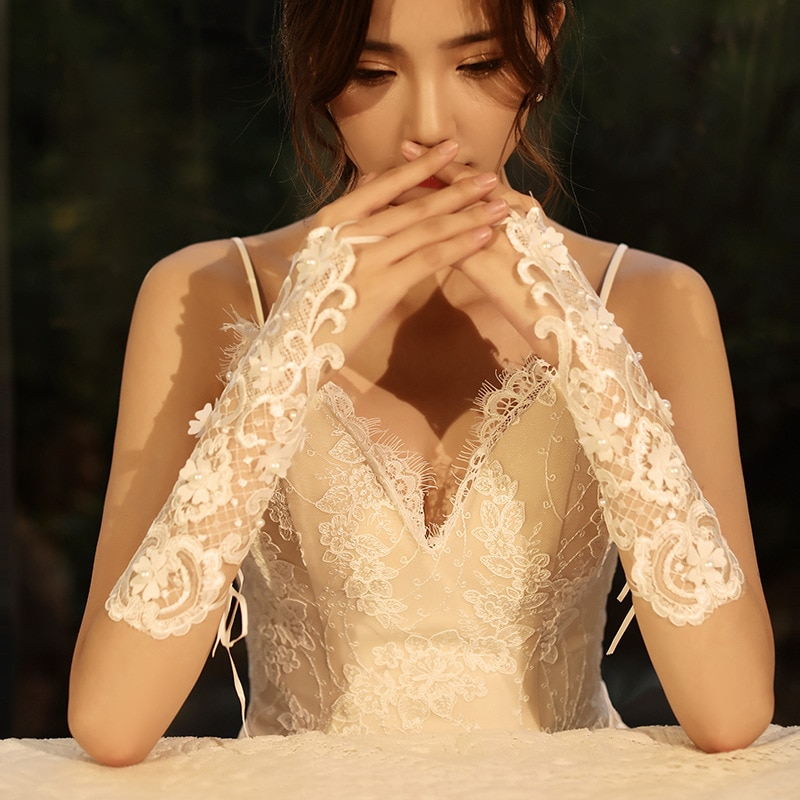 Popodion accesorios de boda guantes de novia guantes de encaje guantes para novia sin dedos WAS10168