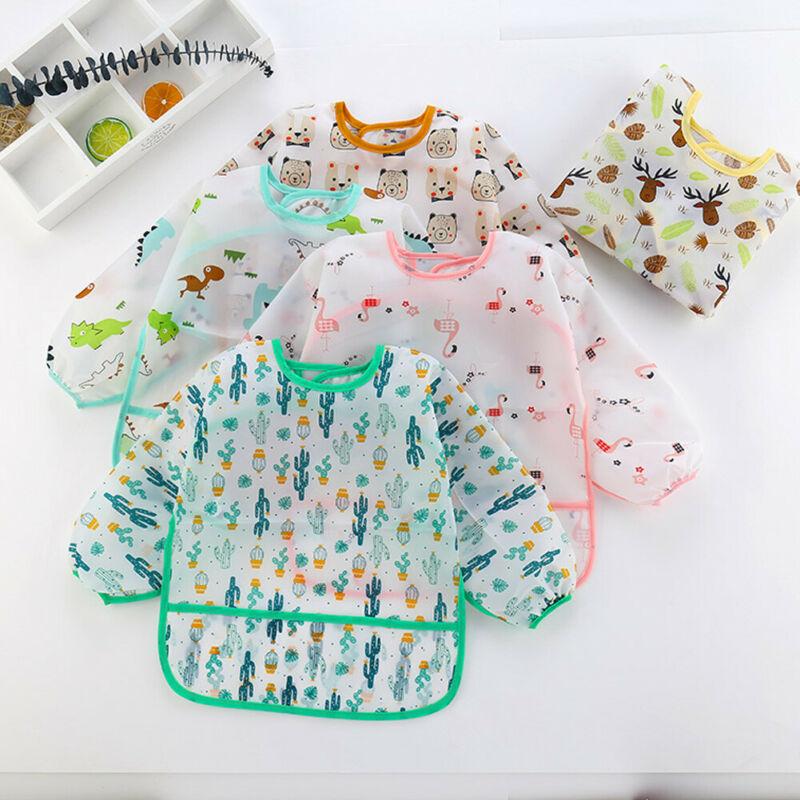 Bavoirs de dessin animé danimaux 1-6T   Adorables bibelots pour bébés, bavoir pour enfants colorés, imperméable, longues manches, tablier pour enfants, alimentation