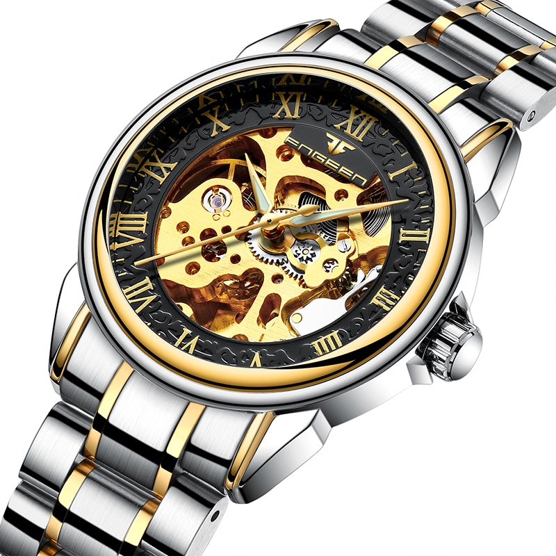 New Men Automatic Mechanical Watches Coated Glass Scratch & Water Resistant Hollow Skeleton Business