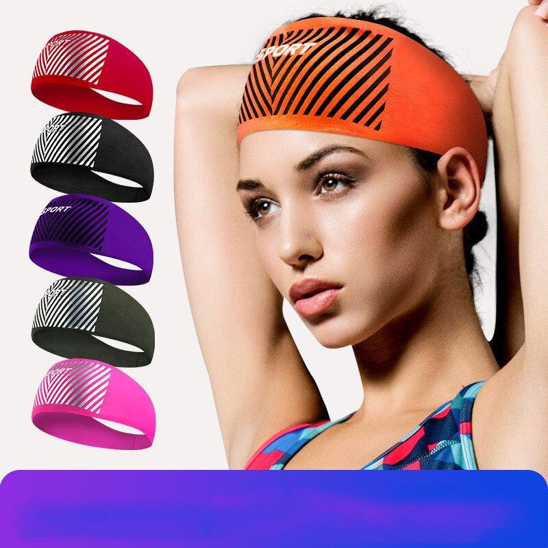 Men Women Sports Sweat Headband Breathable Wide Yoga Headband Elastic Sweatband Hair Band Run Cycling Yoga Dance Running Fitness