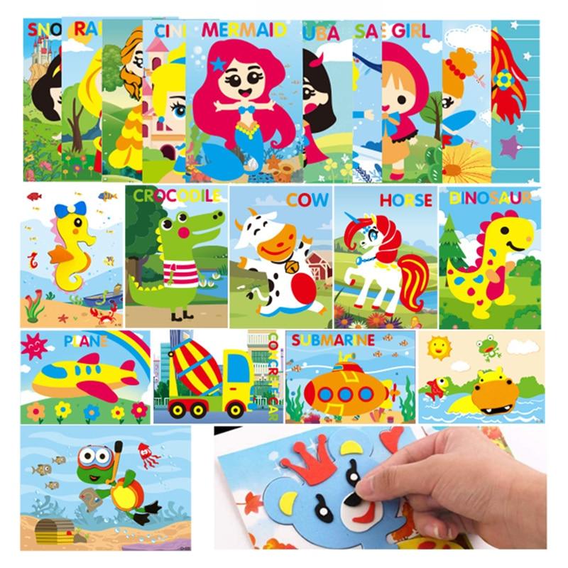 10Pcs Kids DIY 3D EVA Foam Stickers Cartoon Princess Animal Car Dinosaur Puzzle Games Art Craft Early Learning Educational Toys
