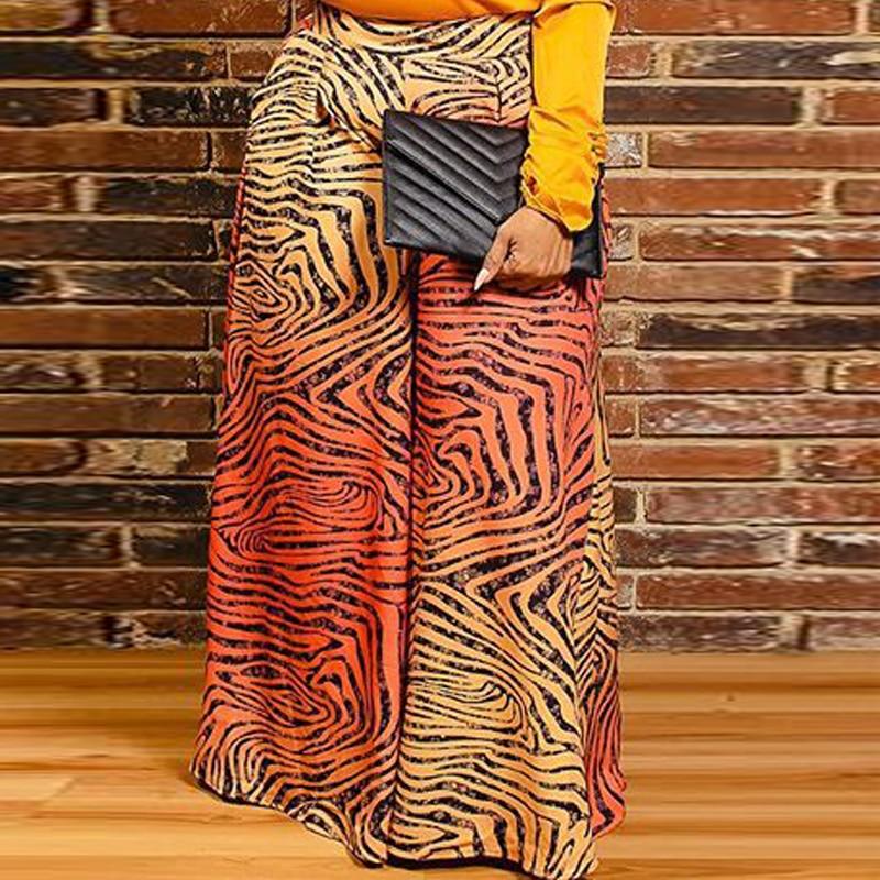 Women Leopard Wide Leg Pants Elastic High Waist Plus Size Trousers Casual Fashion African Ladies Large Size 5XL 4XL Animal Print