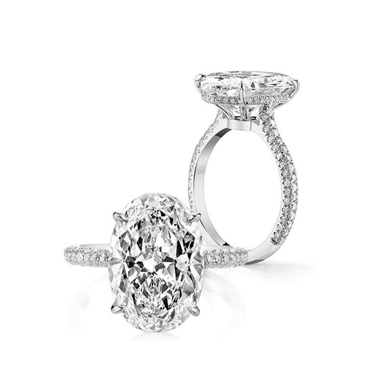 Anillo de compromiso de Plata de Ley 925 LESF, 5 ct, cuatro puntas, solitario, anillos de compromiso para mujer, diseño 12*10mm, piedra central