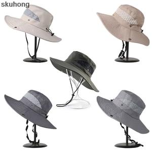 New Fashion Summer Bucket Hat Cowboy Men Outdoor Fishing Hiking Beach Hats Mesh Breathable Anti UV Sun Cap Large Wide Brim