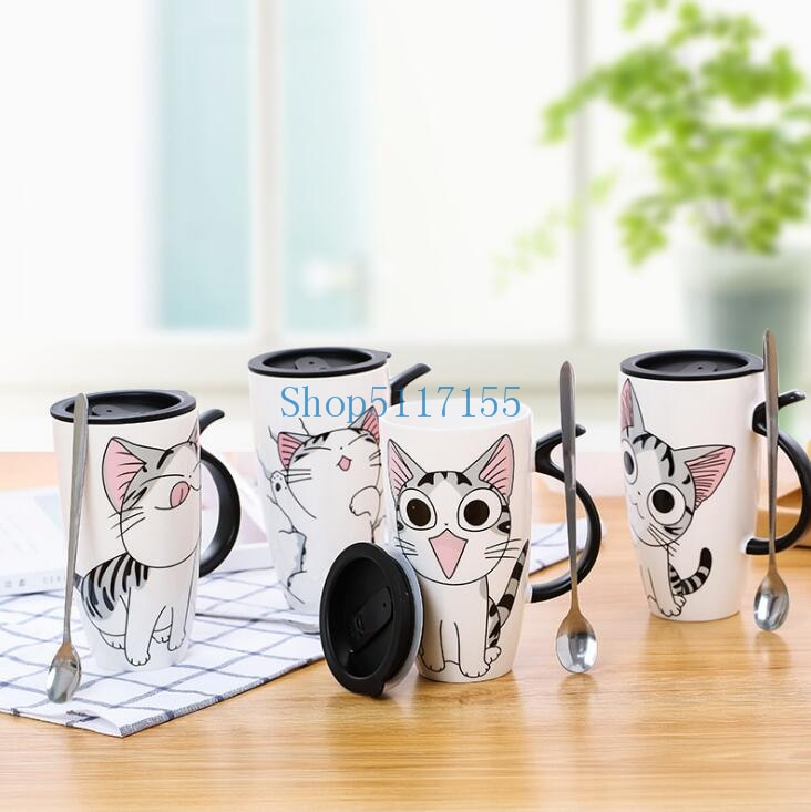 600ml 20oz Leuke Kat Keramiek Koffie Mok a Deksel Grote capacidad Dier Mokken creativa tazas de Koffie te Kopjes melk taza
