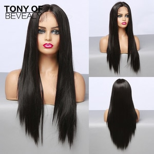 Long Straight Black Lace Front Synthetic Wigs with Baby Hair Lace Wigs for Women High Density Heat Resistant Natural Hair