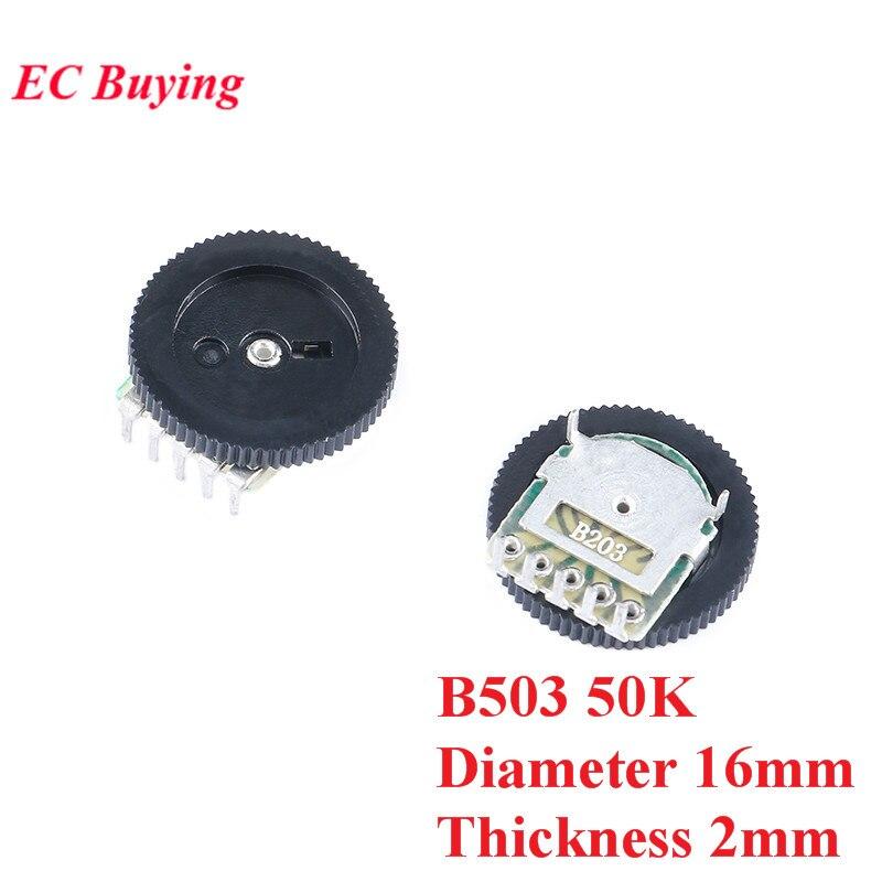 10 pces potenciômetro de discagem dupla b503 50 k placa diâmetro 16mm espessura do disco 2mm potenciômetros