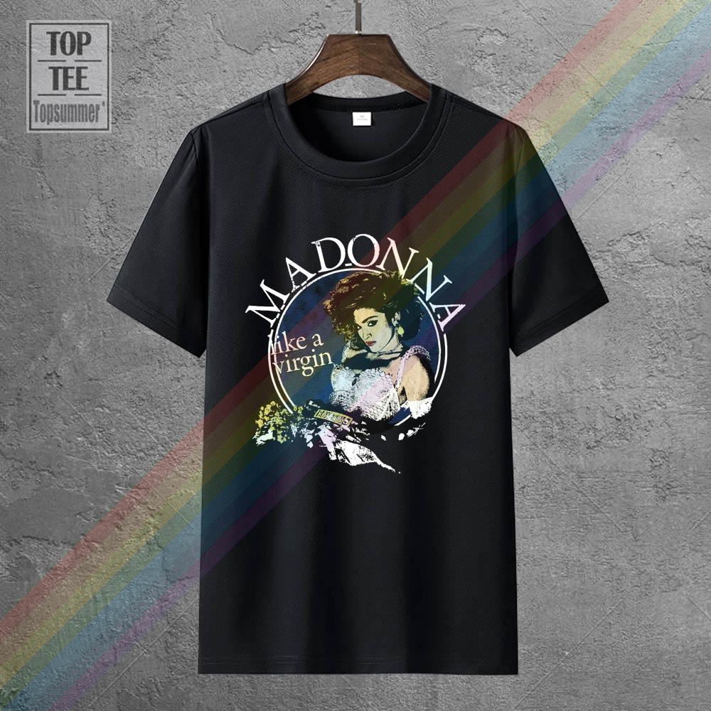 Madonna в прямом эфире Virgin Tour 1985 черная футболка новый официальный информацию о недостающем T рубашки для мальчиков, одежда для мальчиков, беспл...