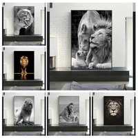 black and white wild lions family canvas art posters and prints lions canvas paintings on the wall art pictures for home decor
