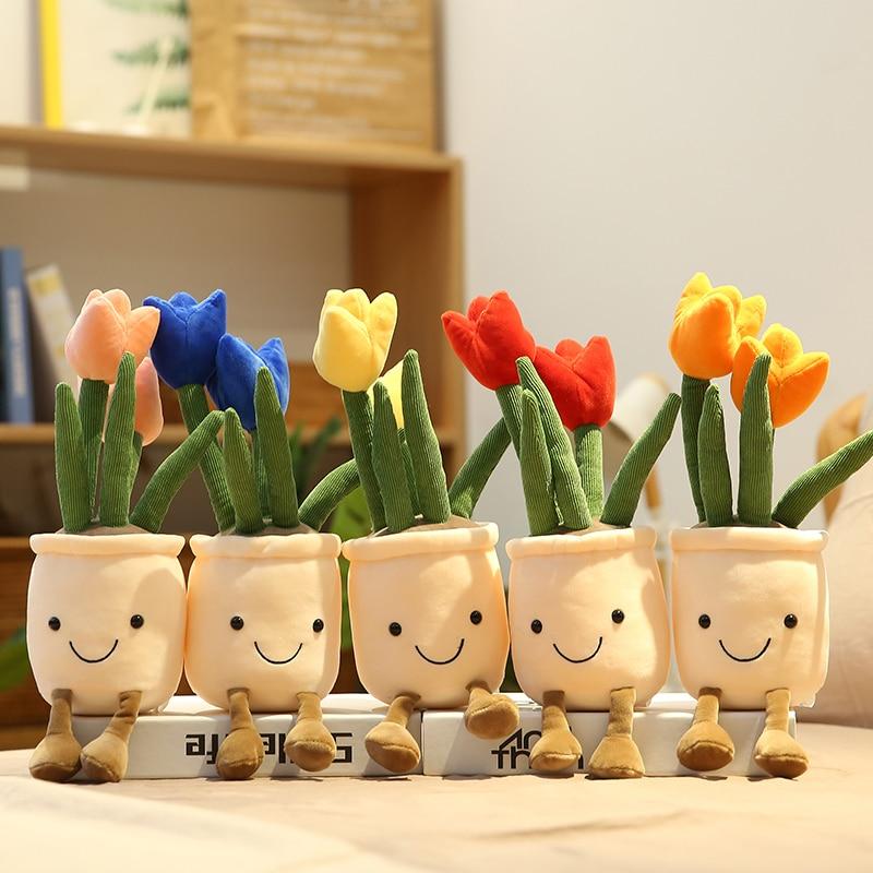35 см Моделирование растение тюльпаны плюшевые номер Декор мягкие игрушки Творческий горшечные цветы Подушка Мягкая кукла для девочек пода...