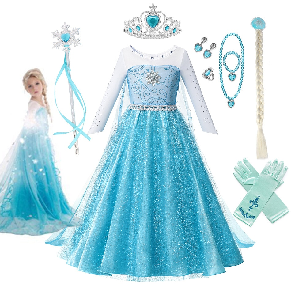 Disney Dresses Frozen 2 dress Girls Fancy Queen Elsa Costume Princess Elsa Party Frozen Dress Snow Queen Vestido 2021