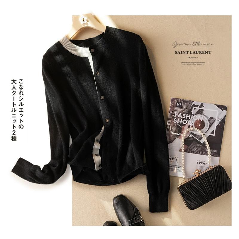 Shuchan Wool Knit Sweater Cardigan Autumn Winter New 2021 High Street Asymmetry A-straight Fashion Sweater Ladies Winter Sweater enlarge